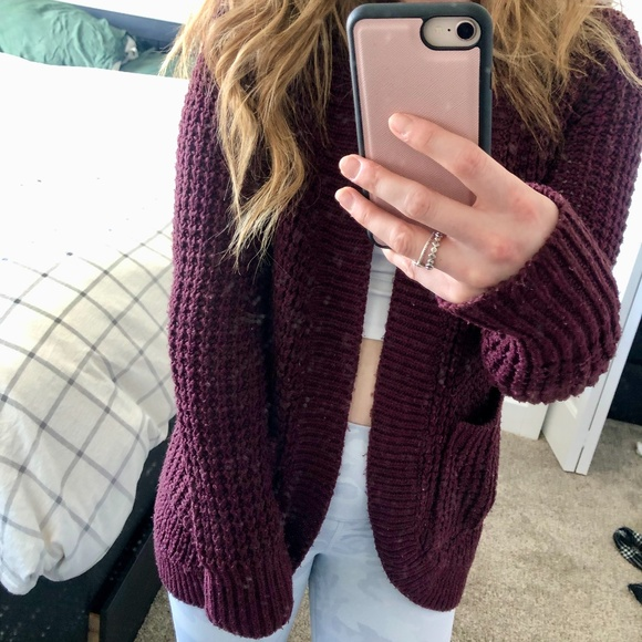 Joe Fresh Burgundy Chunky Knit Cardigan/Sweater